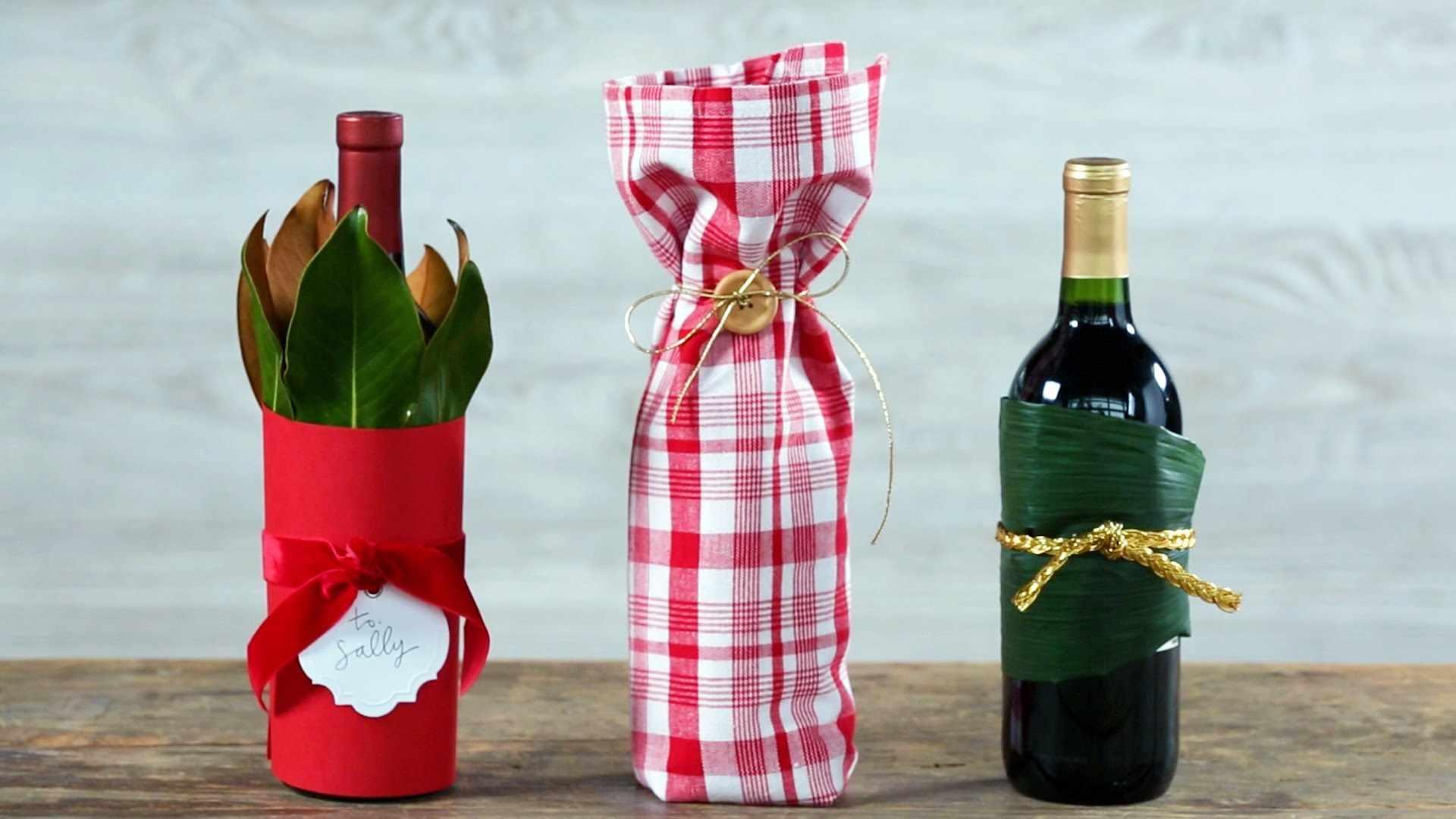 Оформление бутылки для подарка