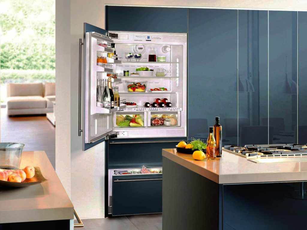 Встроенный синий холодильник