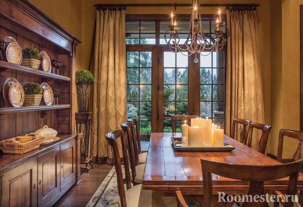 столовая в стиле модерн с большим окном