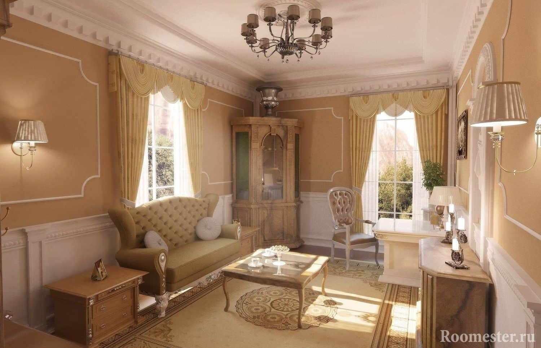 Классическая гостиная в светлых тонах