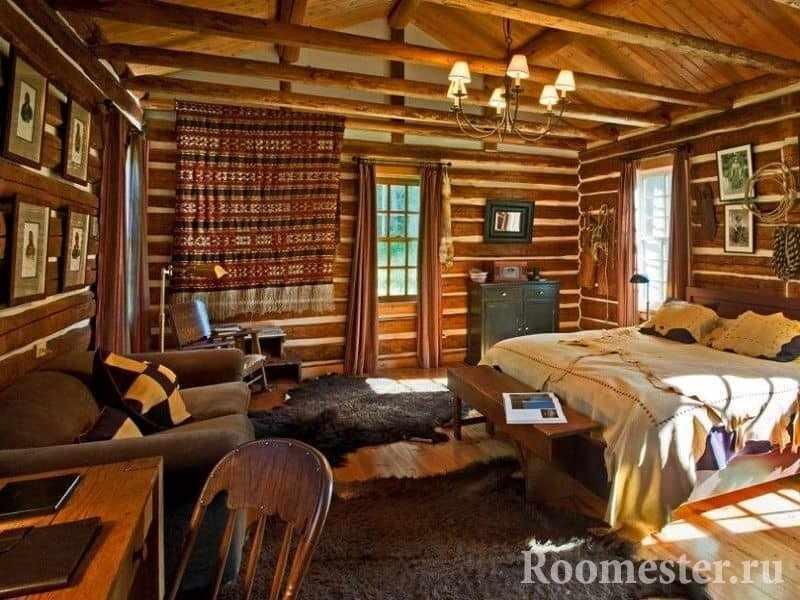 Спальня в загородном доме в стиле кантри