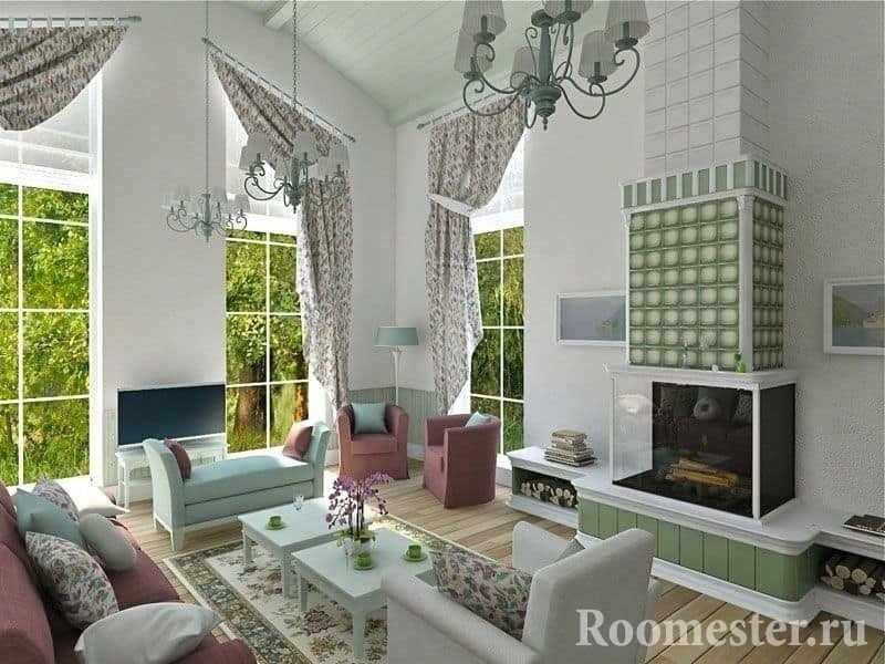 Гостиная с камином и панорамными окнами в загородном доме