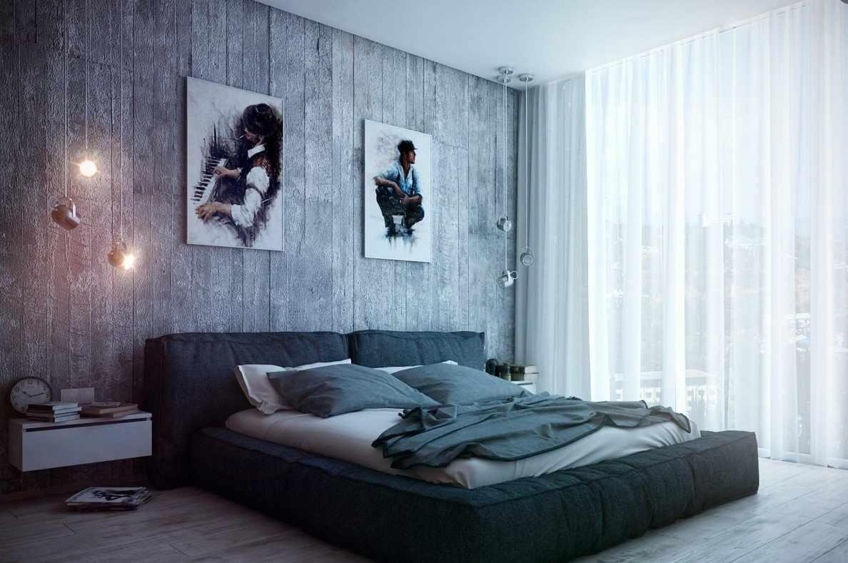 Картины в спальне в стиле лофт