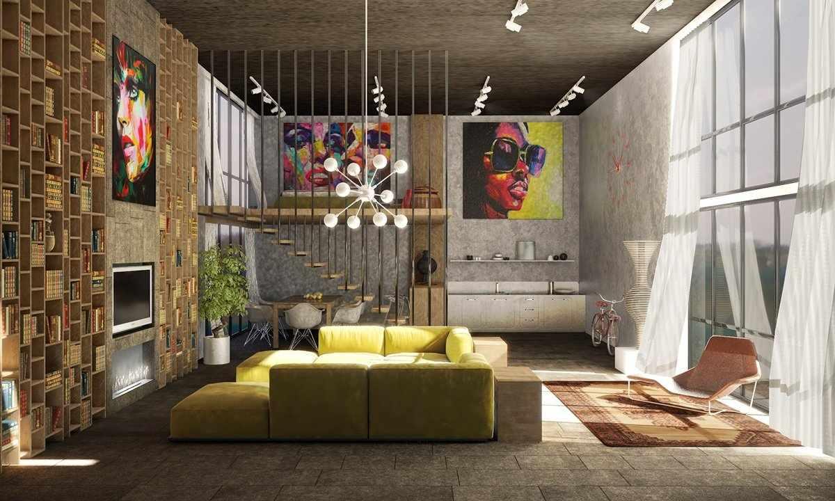 Картины на стенах в интерьере в стиле лофт