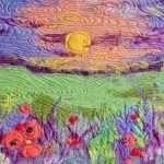 Закат в поле с цветами