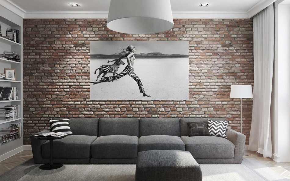 Картина в гостиной под цвет интерьера