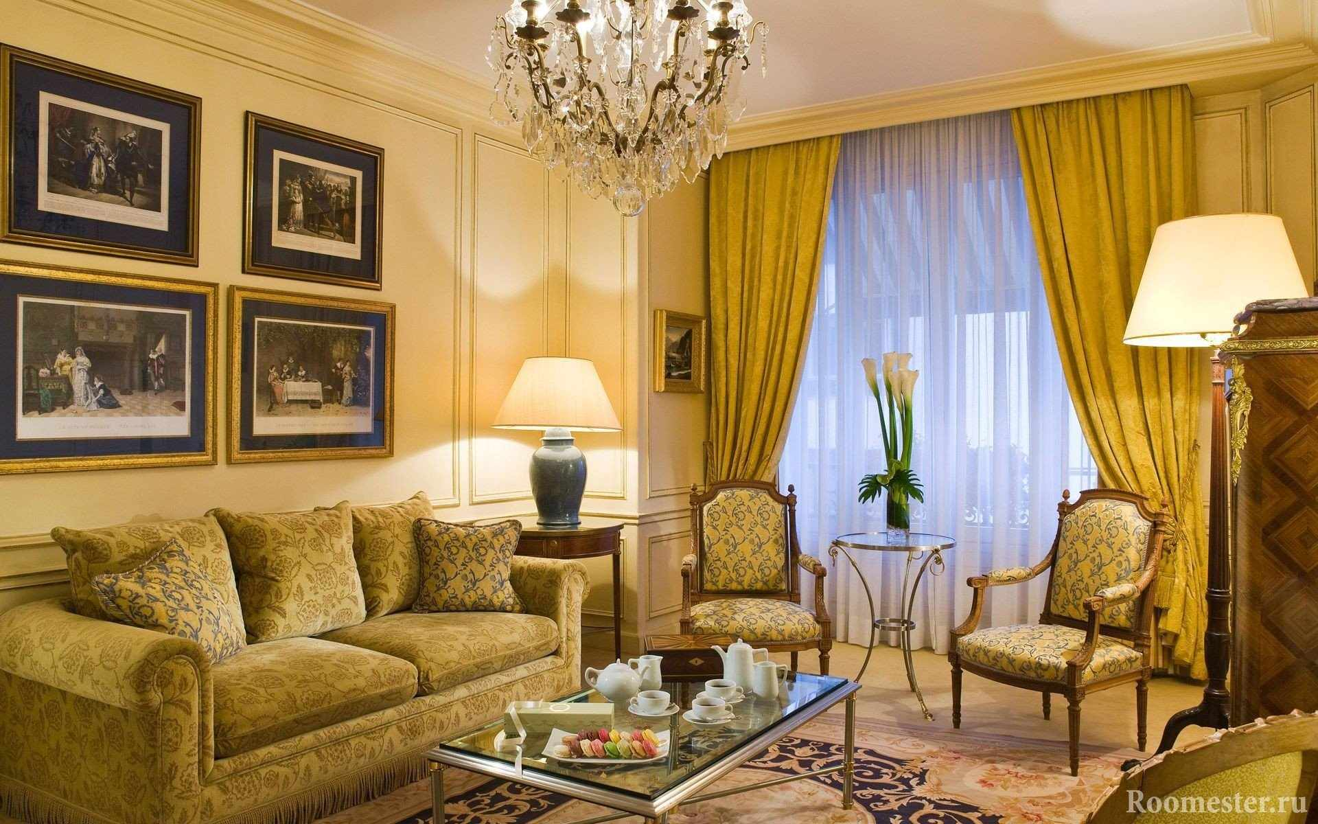 Шторы на окна в классической гостиной