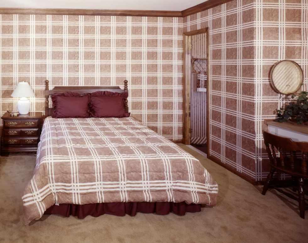 Клетчатый принт в дизайне спальни