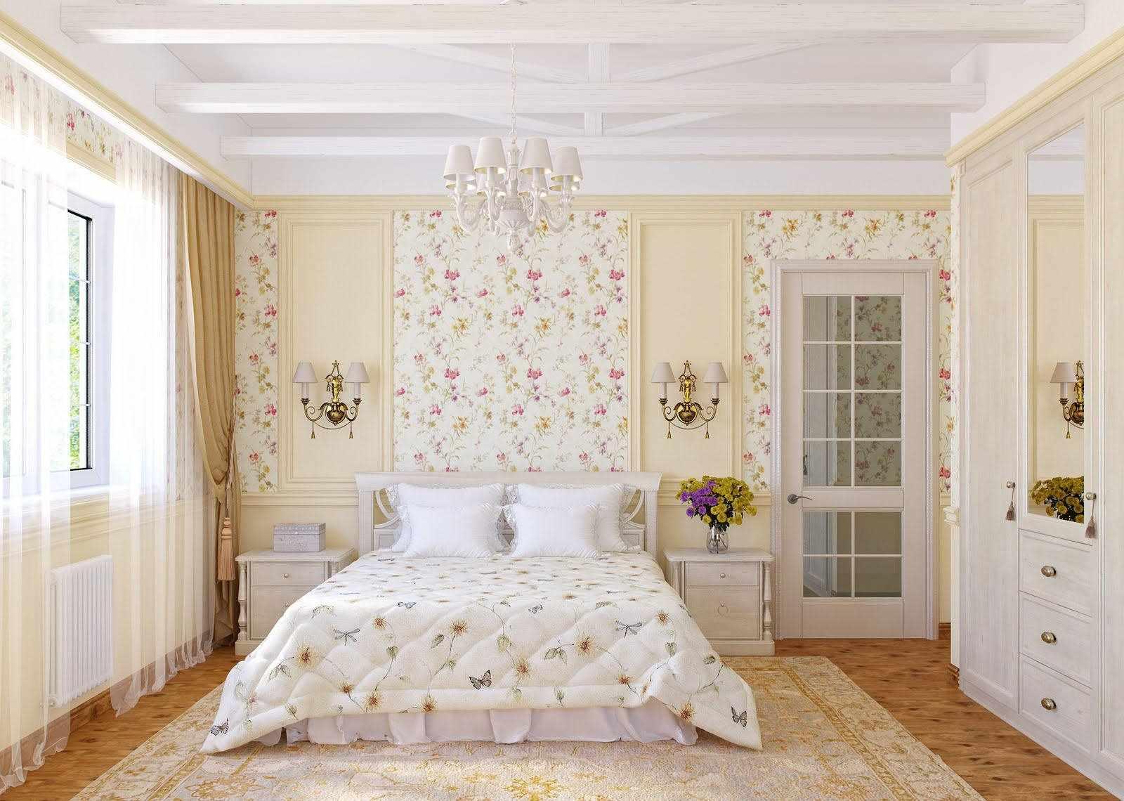 Интерьер в стиле прованс с комбинированными обоями