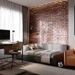 Кирпичная стена в комнате