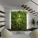 Оформление стены комнатными растениями