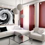 Бардовые шторы в белом интерьере
