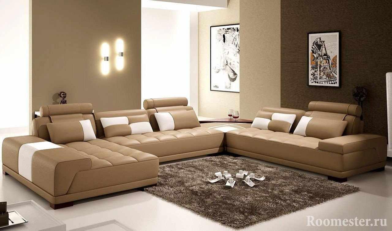 Оттенки коричневых цветов в гостиной
