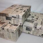 Газета как декор коробок для хранения