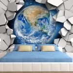 Космические фотообои в спальне