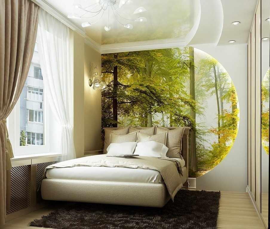 Фотообои на стене в спальне