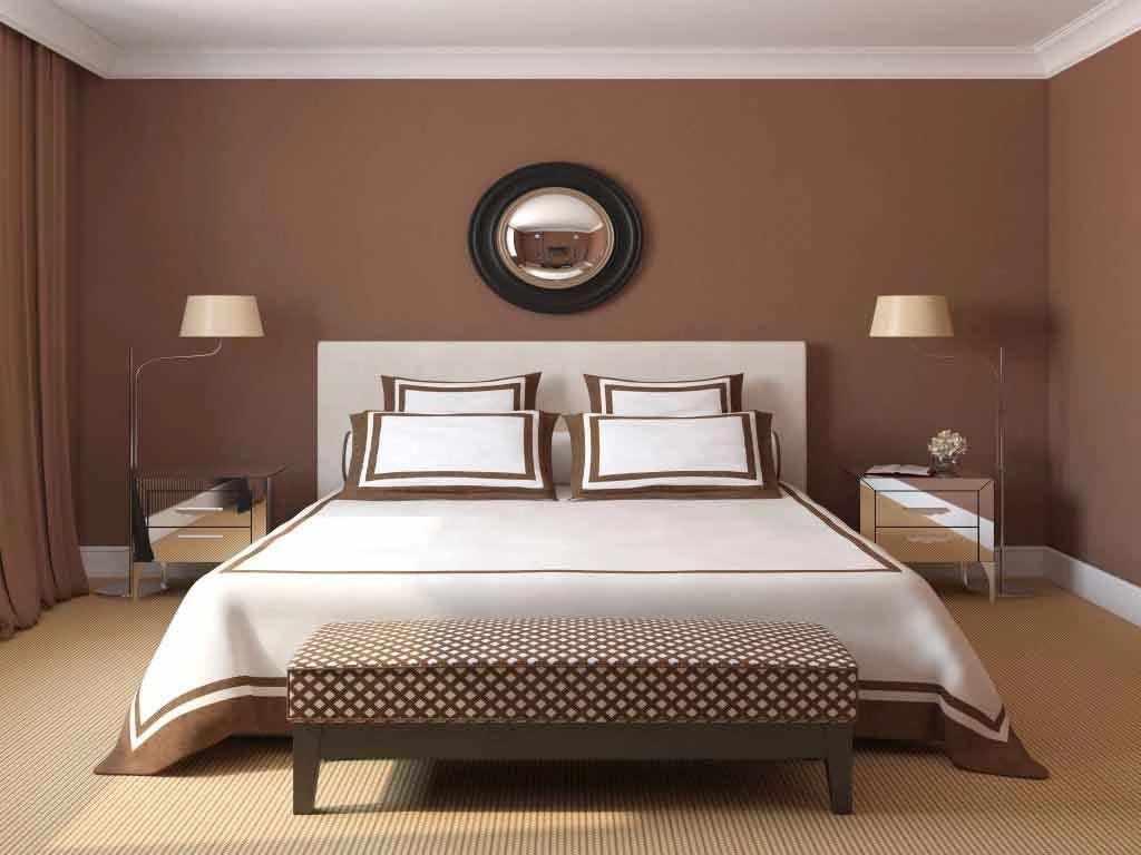 Кофейный интерьер спальни
