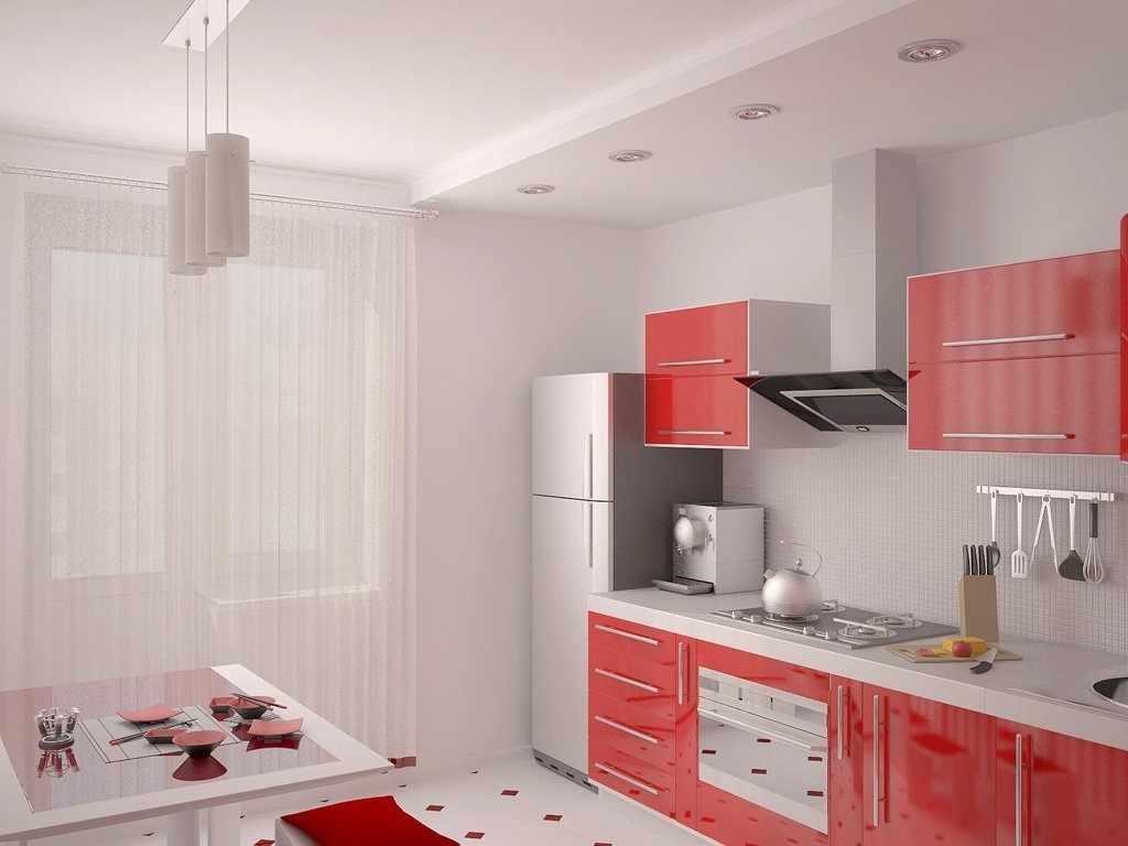 Светлый интерьер с красной кухней