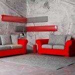 Серый интерьер с красным декором