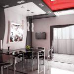 Телевизор на стене в столовой