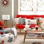 Сочетание красного с серым в гостиной