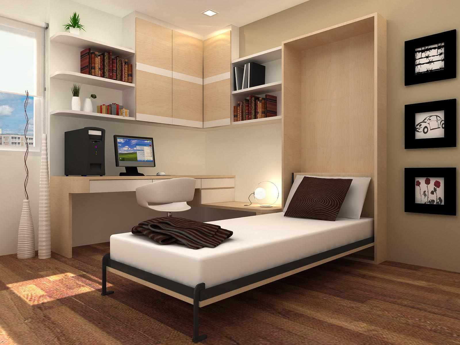 Белая кровать с коричневой подушкой