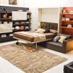 Сочетание оранжевого и коричневого в интерьере спальни