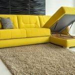 Диван-кровать желтого цвета