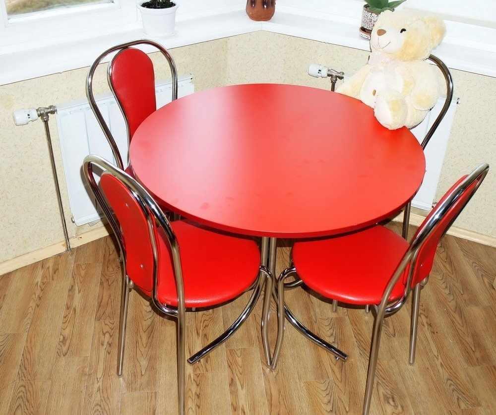 Красный круглый стол в интерьере