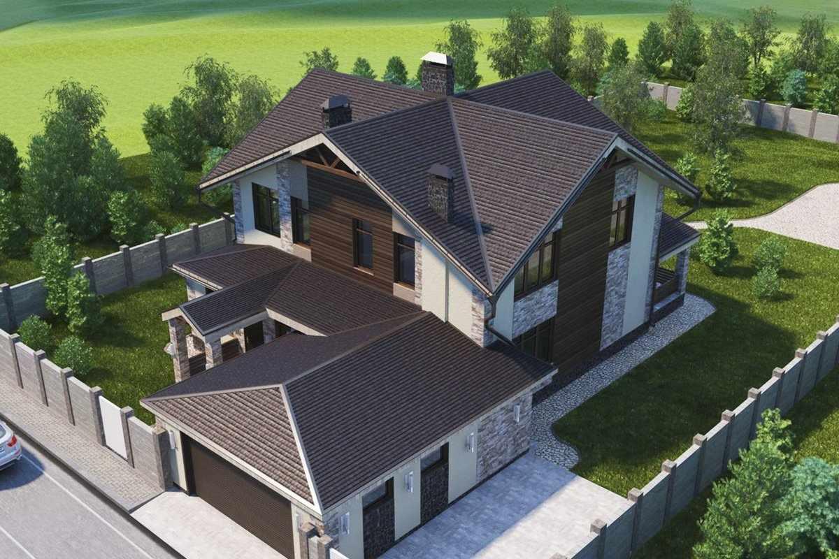 Многощипцовая коричневая крыша