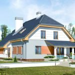 Белый дом с черной полувальмовой крышей