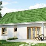 Двускатная зеленая крыша
