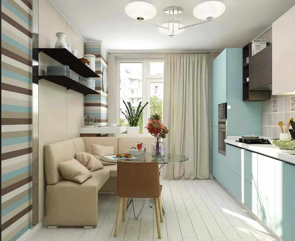 Светлый потолок на кухне 12 кв м
