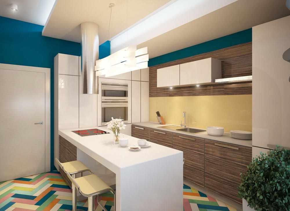 Яркий пол на кухне 12 кв м