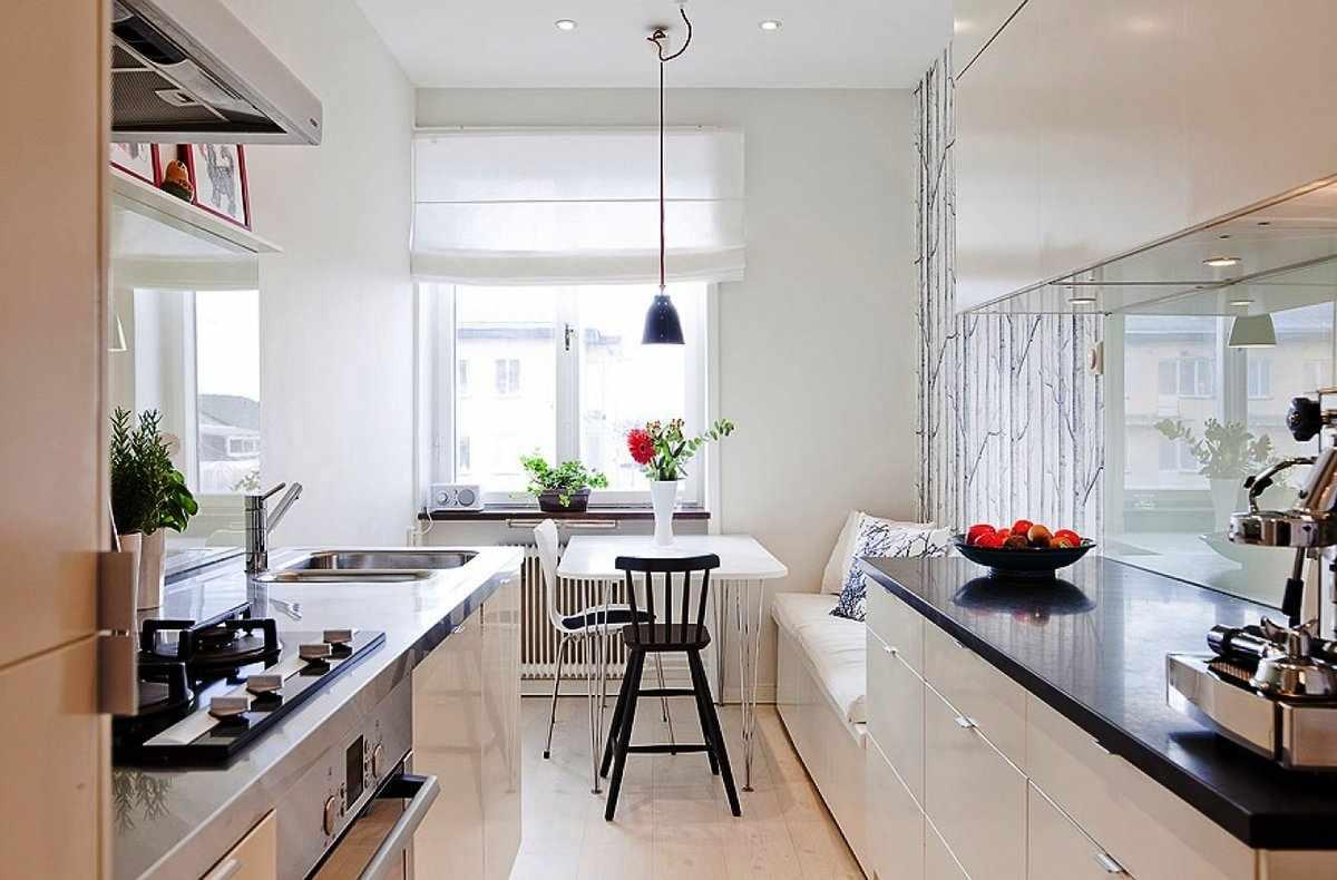 Кухня 12 кв м с двухлинейной планировкой