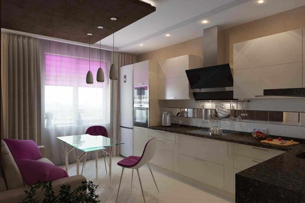 Выделение столовой зоны многоуровневым потолком