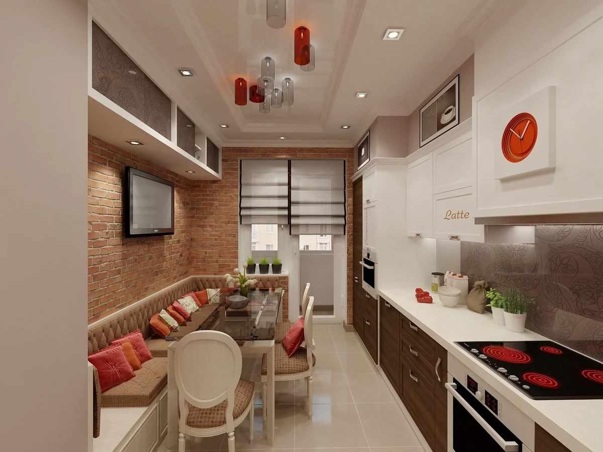 Обеденный стол и диван на кухне 12 кв м