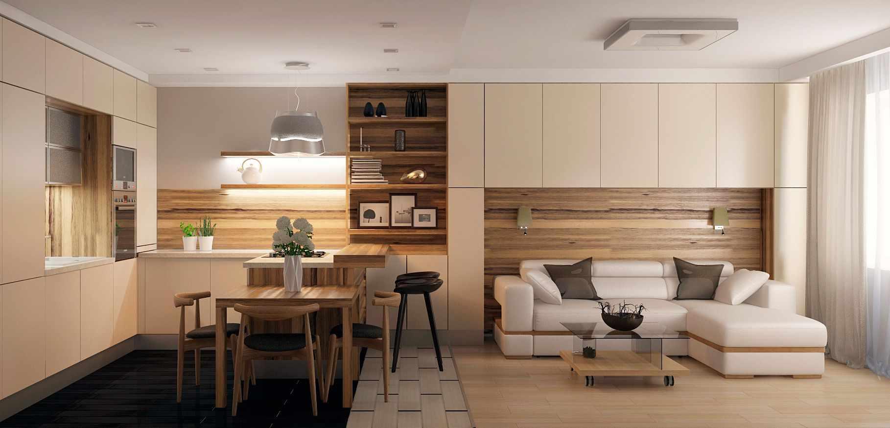 Экономия пространства - одно из преимуществ кухни-гостиной