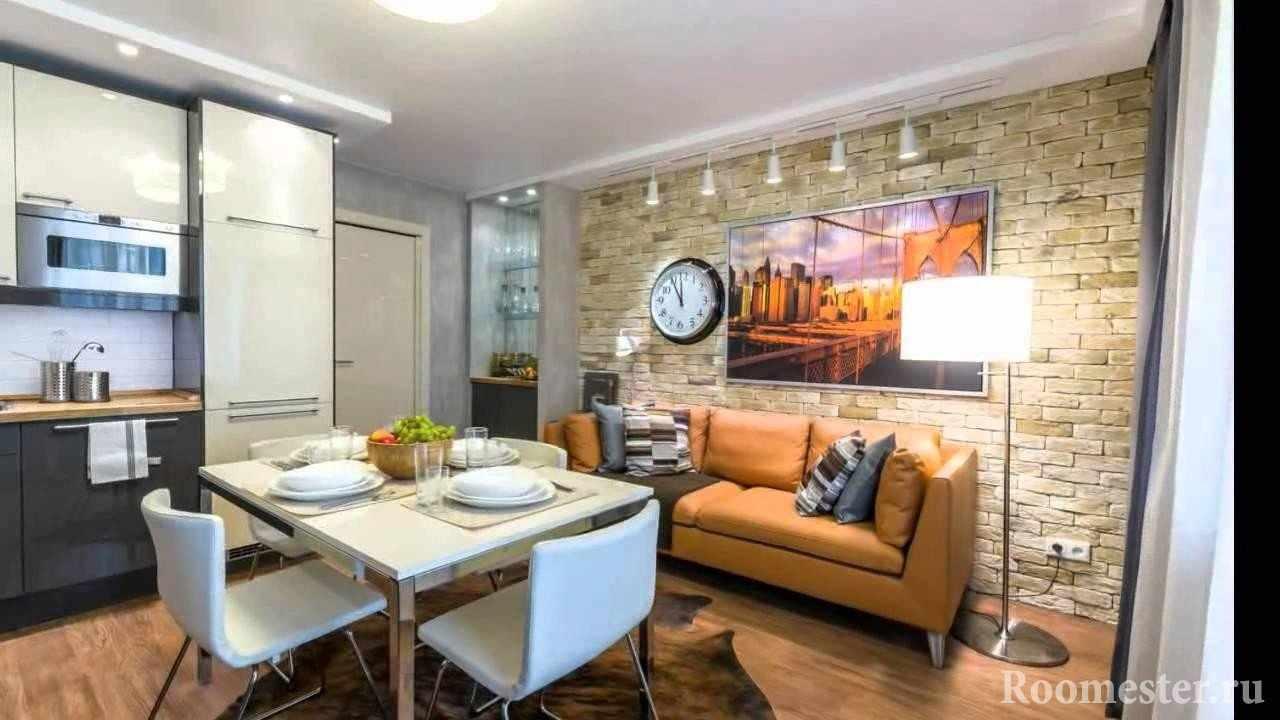 Квартира-студия - гостиная с кухней