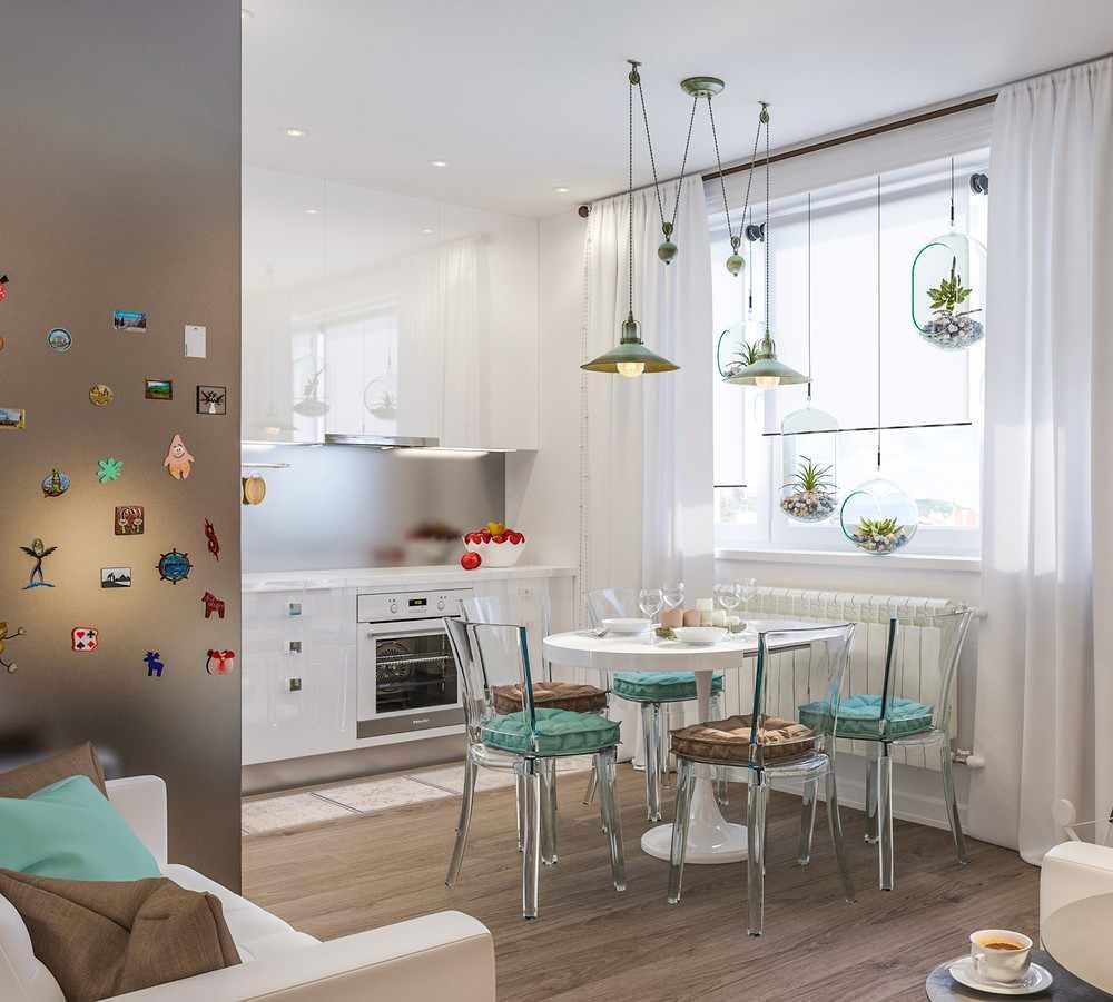 Мебель в обеденной зоне кухни-гостиной