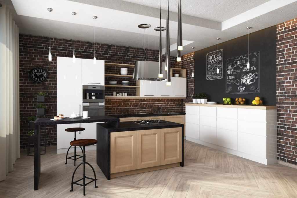 Островок на кухне в стиле лофт