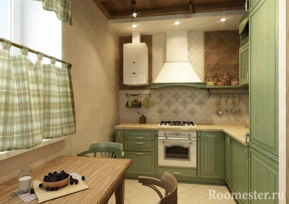 Угловая кухня в деревенском стиле с фартуком из кафельной плитки и крашенными стенами