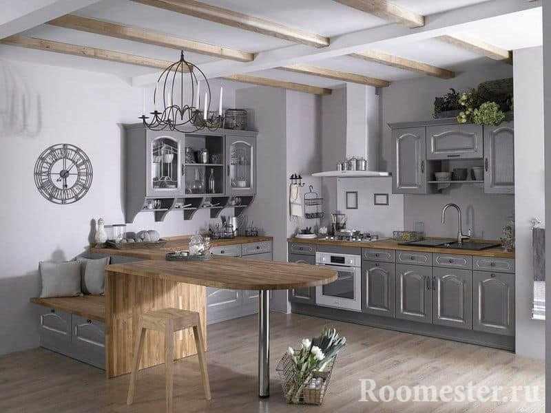 Кухня в деревенском стиле в оттенках серого