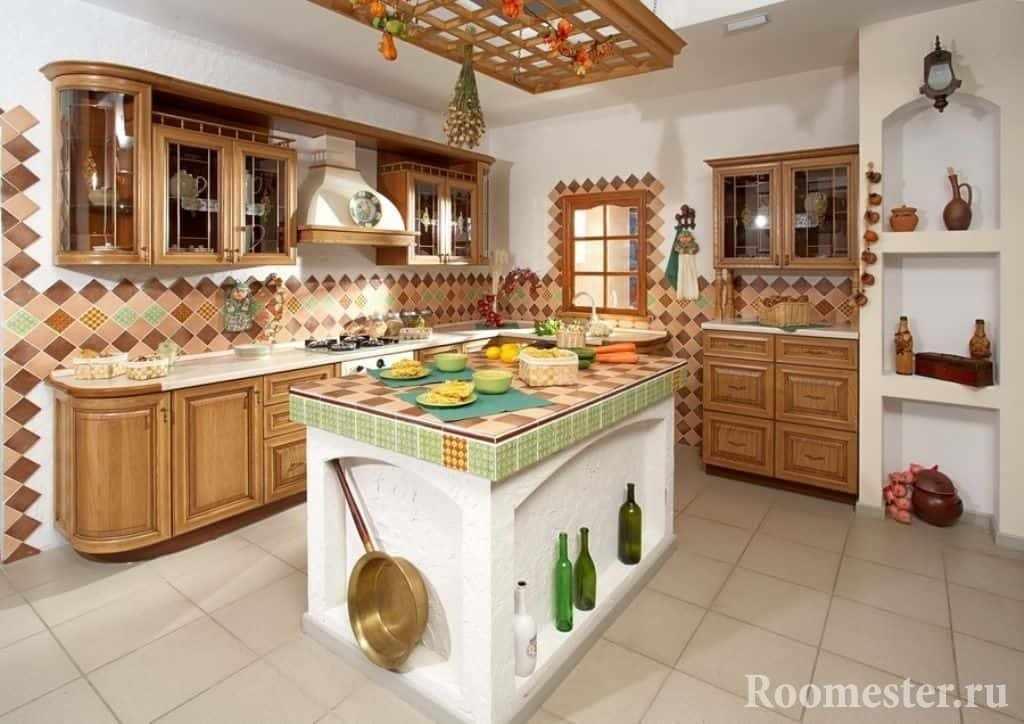 Кухня с оригинальным столом в деревенском стиле
