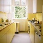 Кухня параллельная желтая
