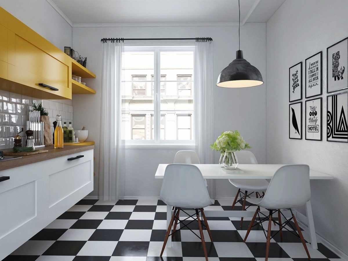 Белый потолок на кухне в скандинавском стиле