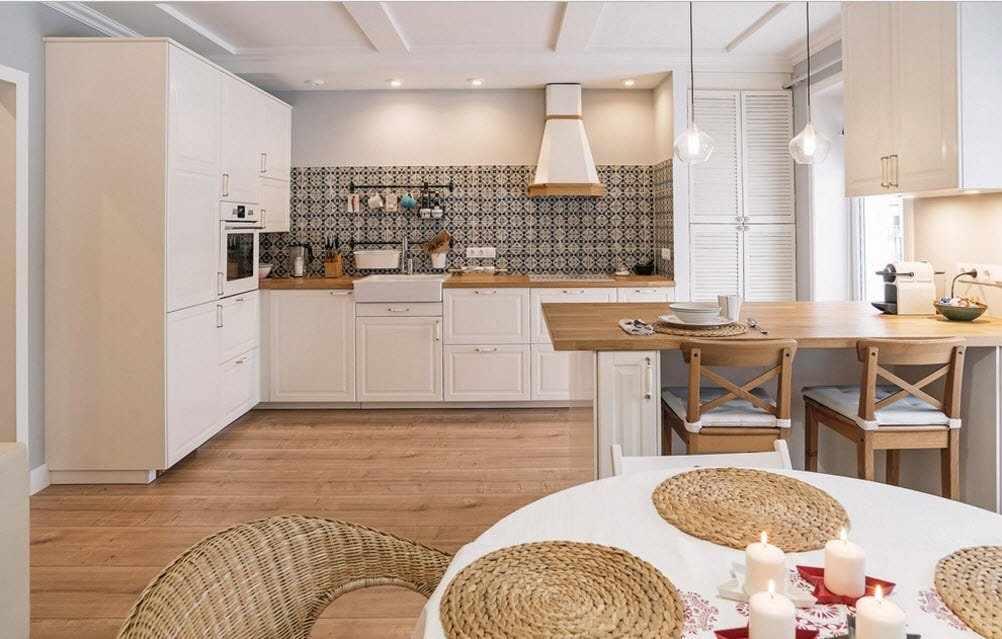 Кухня в скандинавском стиле в частном доме