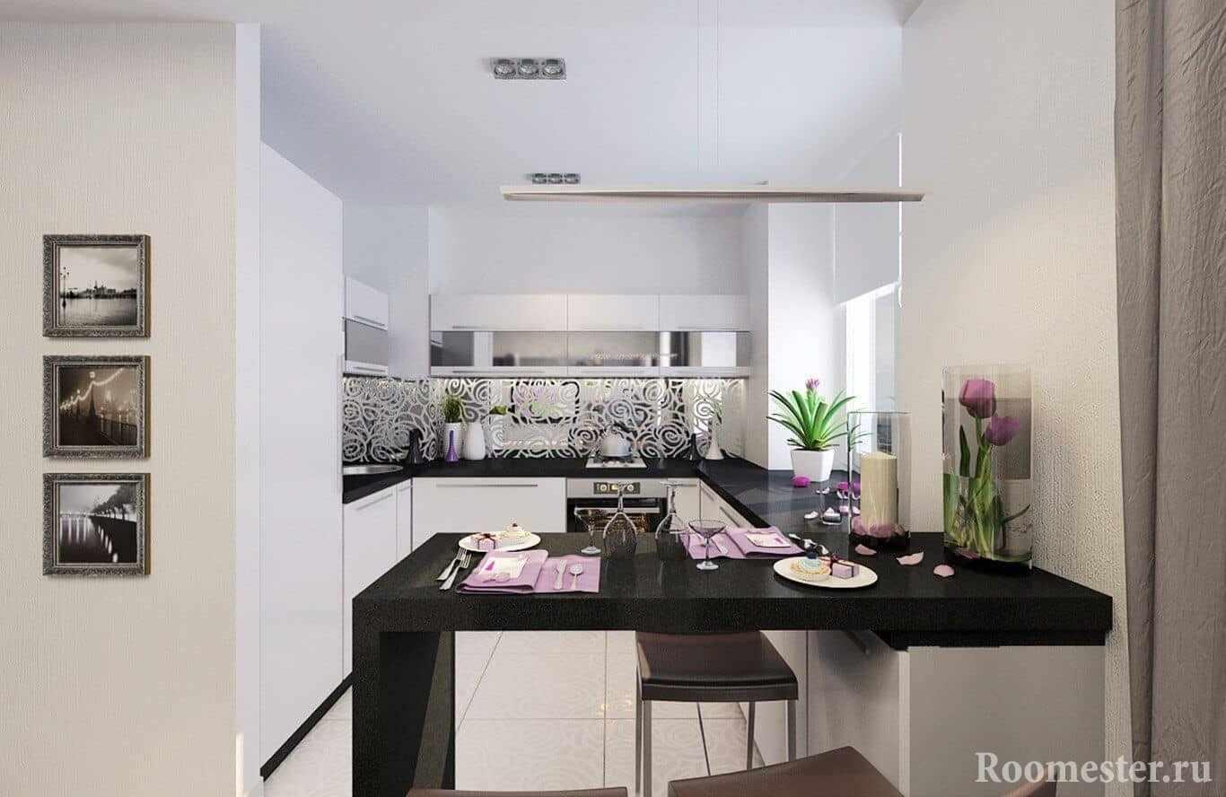 Узкая кухня в современном стиле с черной барной стойкой