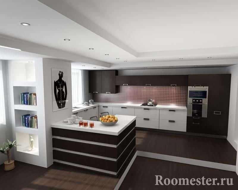 Двухуровневый потолок в кухне в стиле хайтек