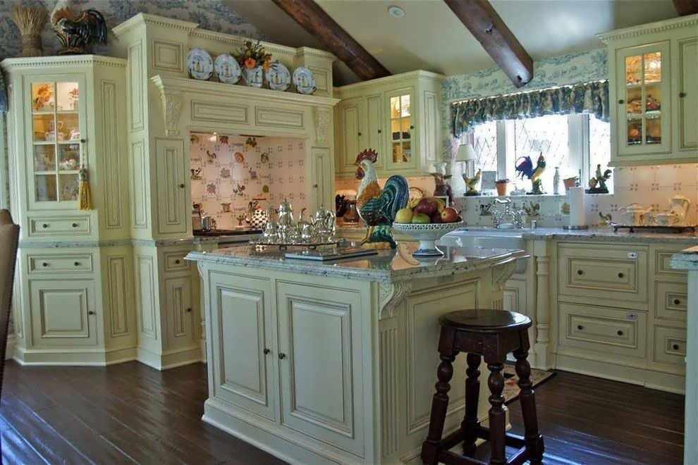 Пол из дерева на кухне в стиле кантри